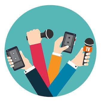 Zestaw rąk trzyma dyktafony i mikrofony. wiadomości na żywo. naciśnij ilustrację.