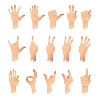 Zestaw rąk w emocjach różnych gestów na białym tle