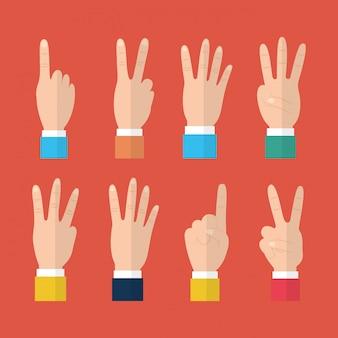 Zestaw rąk z różnych gestów