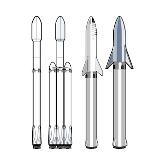 Zestaw rakiet izolowanych. statki kosmiczne z wzmacniaczem