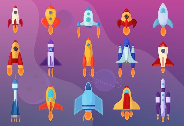 Zestaw rakiet. kolekcja statku kosmicznego. futurystyczna technologia
