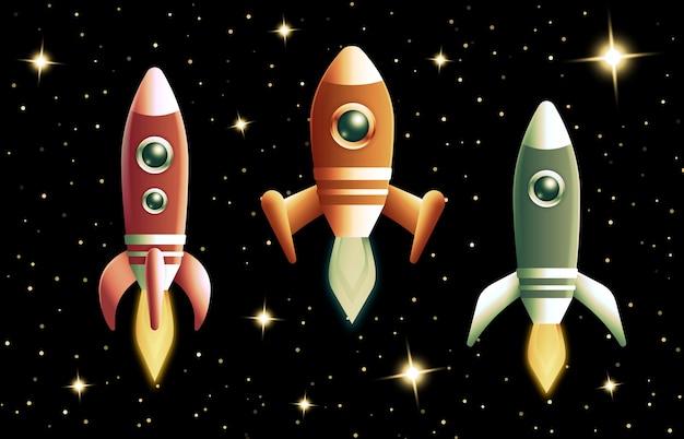 Zestaw rakiet retro lub statku kosmicznego lecącego w przestrzeni kosmicznej z płonącymi doładowaniami turbo