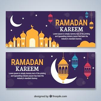 Zestaw ramadan banery z meczetów w stylu płaski