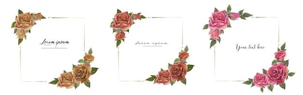 Zestaw ramek akwarela róża.