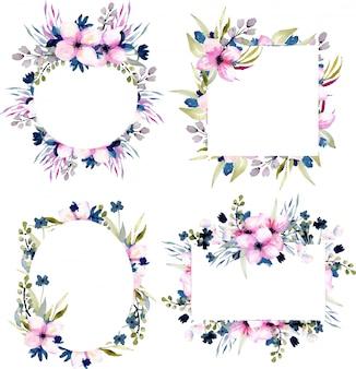 Zestaw ramek akwarela różowe i niebieskie kwiaty i trawy polne
