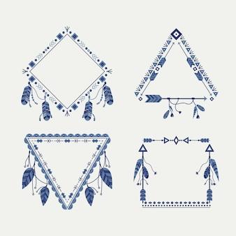 Zestaw ramek boho w ręcznie rysowane stylu