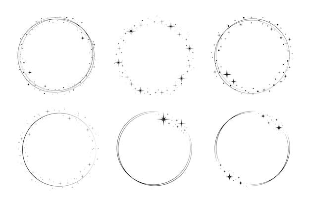 Zestaw ramek gwiazda koło. wieniec okrągły obramowanie gwiezdnego pyłu na imprezę, projekt wystroju urodzinowego. laurowa ramka z kosmicznym połyskiem. ilustracja na białym tle czarny płaski wektor.