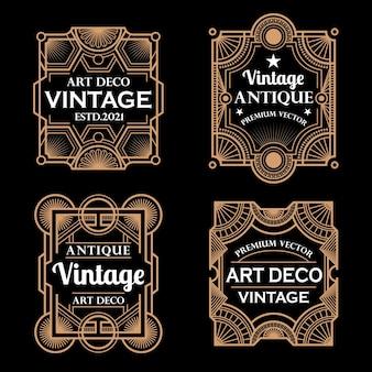 Zestaw ramek i etykiet w stylu vintage w stylu art deco