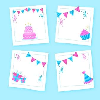 Zestaw ramek kolaż ciągnione urodziny