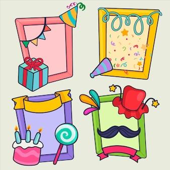 Zestaw ramek kolażu ciągnione urodziny