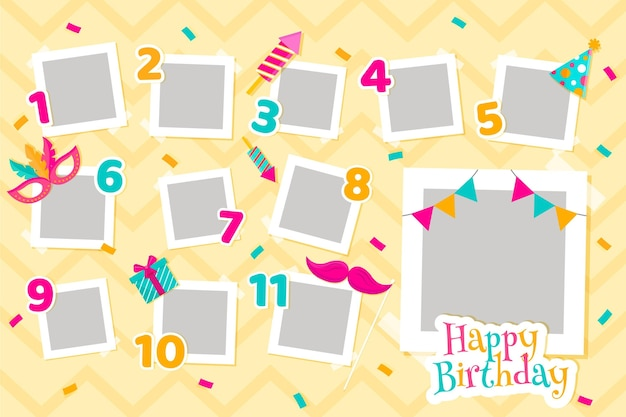Zestaw ramek kolażu płaskie urodziny