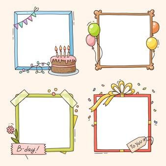 Zestaw ramek kolażu rysowane urodziny