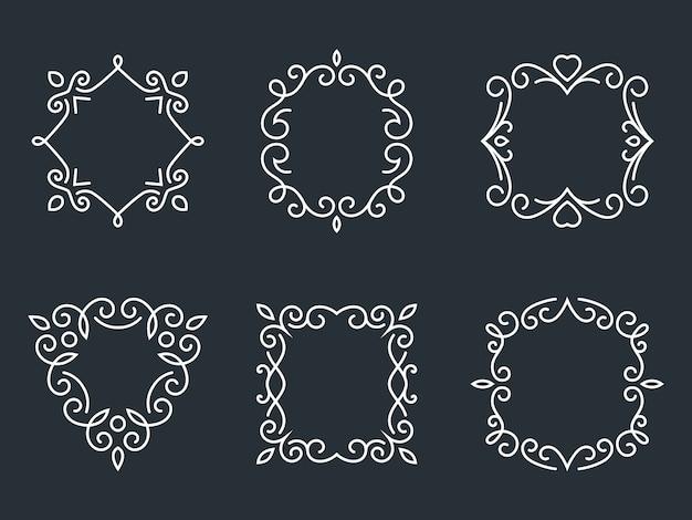 Zestaw ramek konspektu monogram. grafika i kwiaty, moda i wdzięczność.