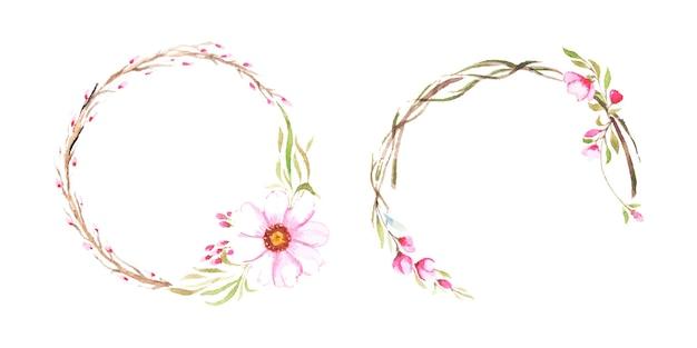 Zestaw ramek kwiatowy akwarela