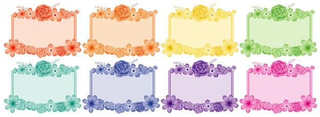 Zestaw ramek kwiatowych w różnych kolorach