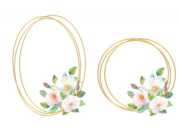 Zestaw ramek kwiatowych z białymi kwiatami dzikiej róży, czerwonymi owocami, zielonymi liśćmi. owalne i okrągłe złote ramki z kwiatowym układem.