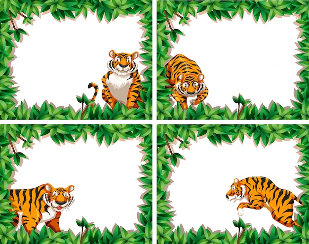 Zestaw ramek liści tygrysa