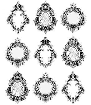 Zestaw ramek lustrzanych barokowych
