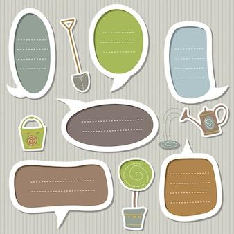 Zestaw ramek na tekst ozdobiony motywami ogrodowymi: łopata, konewka, wiaderko i drzewo w doniczce