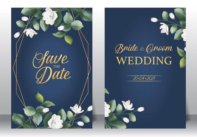 Zestaw ramek na zaproszenia ślubne; kwiaty, liście, akwarela, na białym tle.