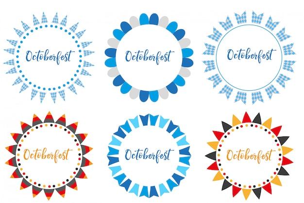 Zestaw ramek oktoberfest lub styl kreskówkowy. październikowy fest w niemczech kolekcja okrągłej chorągiewki, flagi, elementów. na białym tle. ilustracja.