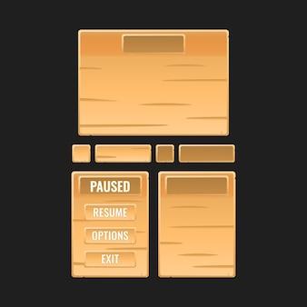 Zestaw ramek pop-up z drewnianej planszy do elementów zasobów interfejsu gry