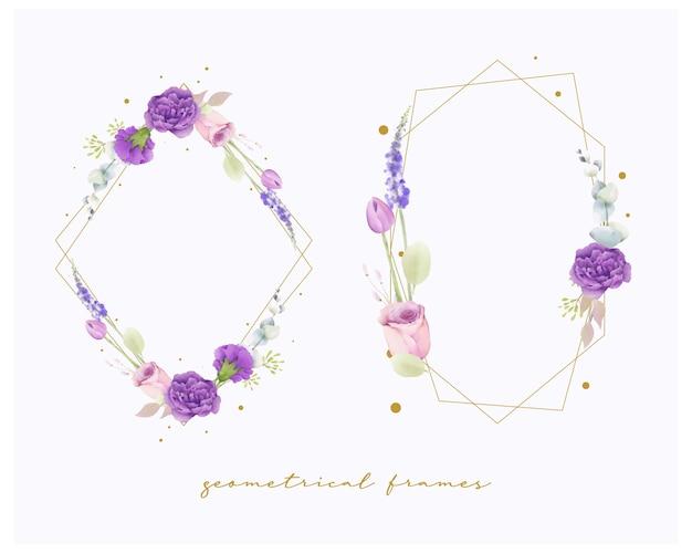 Zestaw ramek ślubnych kwiatowy akwarela