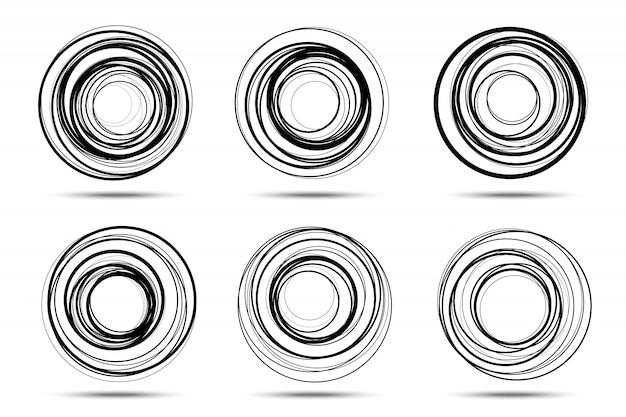 Zestaw ramek spiralnych koła. wektor
