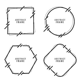 Zestaw ramek stylowe stylowe linie abstrakcyjne