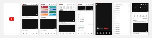 Zestaw ramek szablonu youtube dla mediów społecznościowych