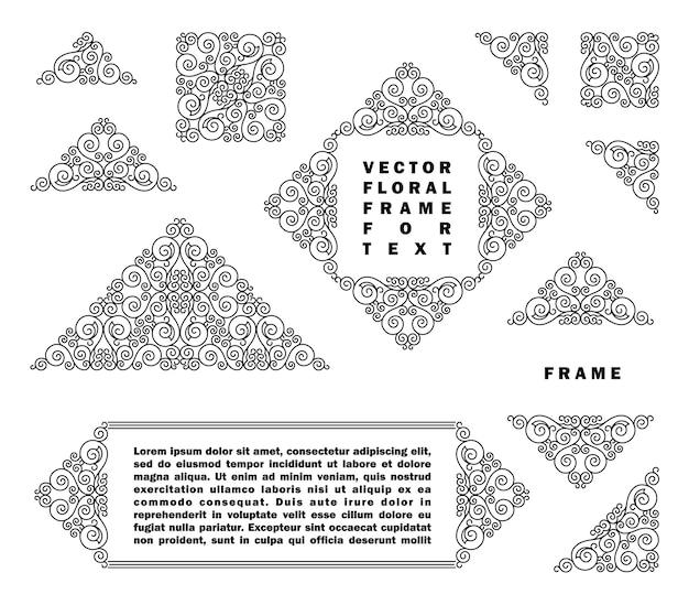 Zestaw ramek szablony linii sztuki projektowania