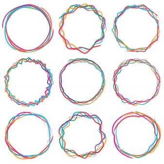 Zestaw ramek tekstowych kolorowe cercle