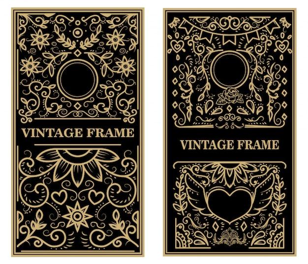 Zestaw ramek vintage. elementy plakatu, godła, znaku, karty. ilustracja
