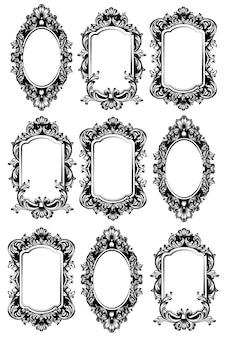 Zestaw ramek vintage lustro