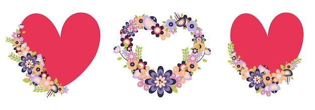 Zestaw ramek w serca i kwiaty