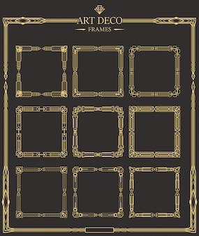 Zestaw ramek w stylu art deco złoty separatory strony kaligraficzne.