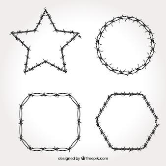 Zestaw ramek z drutu kolczastego o różnych kształtach