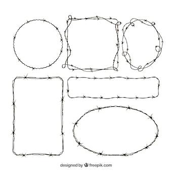 Zestaw ramek z drutu kolczastego