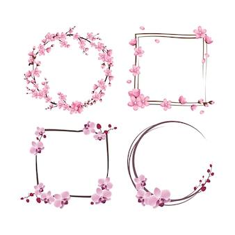 Zestaw ramek z kwiatami sakury i orchidei. różowe słodkie wieńce wiśniowe.