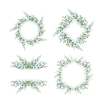 Zestaw ramek z liści