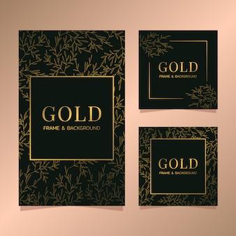 Zestaw ramek złota karta botaniczna zestaw luksusowych czarno -złota karta