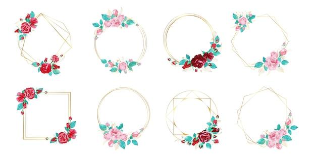 Zestaw ramki akwarela kwiat na ślub monogram logo i projektowanie logo marki