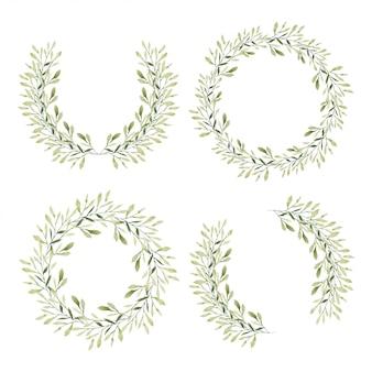 Zestaw ramki koło zielony liść w stylu przypominającym akwarele