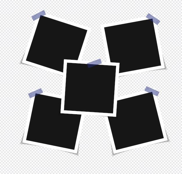 Zestaw ramki na zdjęcia na taśmie klejącej na przezroczystym tle
