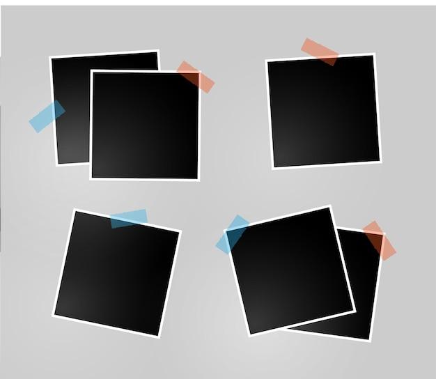 Zestaw ramki na zdjęcia ustawiony na przezroczystym