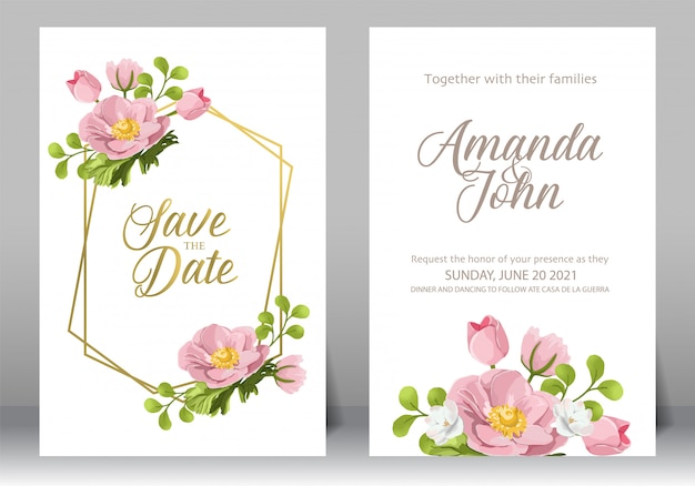 Zestaw ramki zaproszenia ślubne