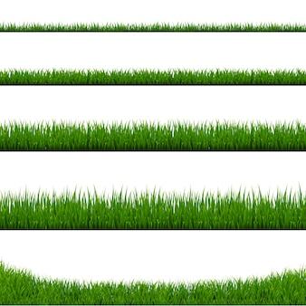 Zestaw ramki zielona trawa i pojedyncze białe tło