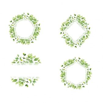 Zestaw ramy zielony liść