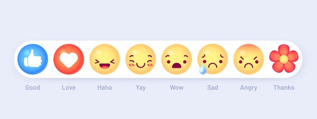 Zestaw reakcji na emotikony