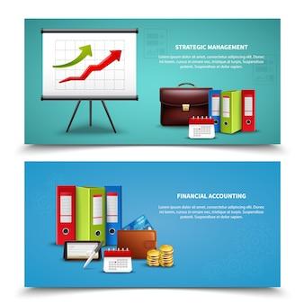 Zestaw realistyczne banery biznesowe